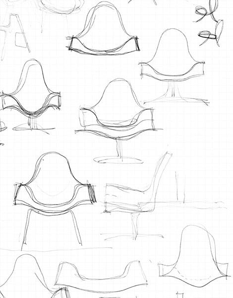 Første skitser til Fredo stol