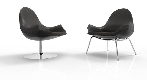 Fredo stol på drejestel og med 4 ben. Computer visualisering fra produktudviklingsforløbet, Jacob Würtzen