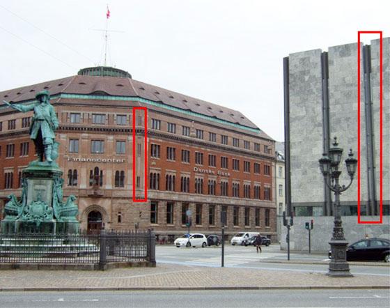 Nationalbankens dobbelte skydeskårs. En gentagelse af arkitektonisk motiv fra nabobygningen?
