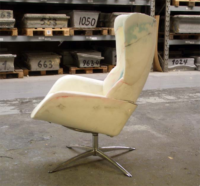 Foam prototype of Fox recliner made by KEBE