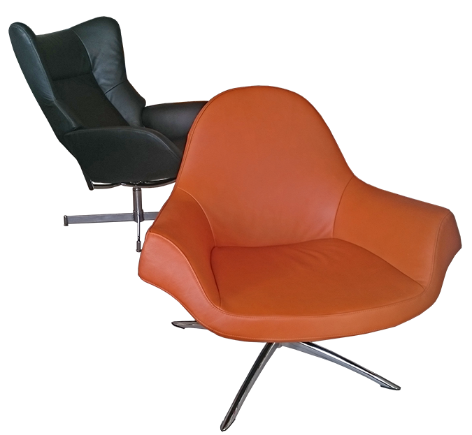 Fredo chair (2013) and Fox recliner (2014) by KEBE A/S. Design: Jacob Würtzen