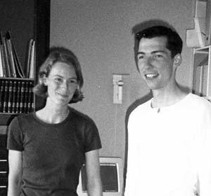 Sünje og Jacob på tegnestuen i Havnegade 41, ca. år 2000