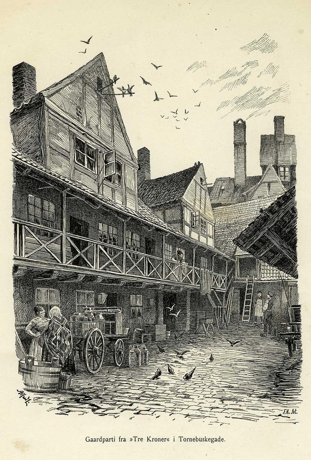 """""""Tre Kroner"""" i Tornebuskegade, København ca. 1895"""