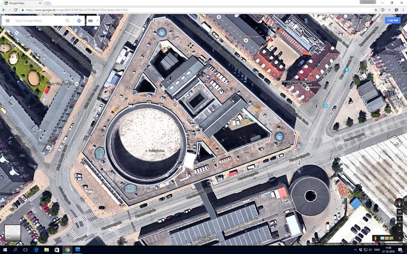 "Google Maps med Politigården i ""Earh view"""