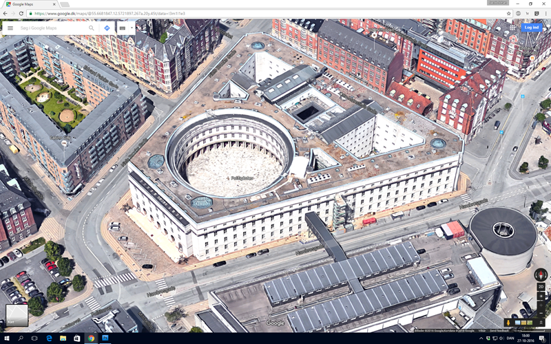 Google Maps med Politigården i skråprojektion