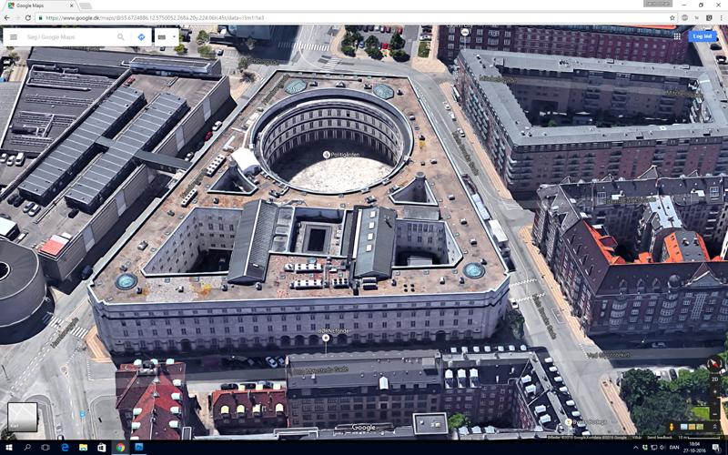 Google Maps med Politigården i skråprojektion fra et andet verdenshjørne