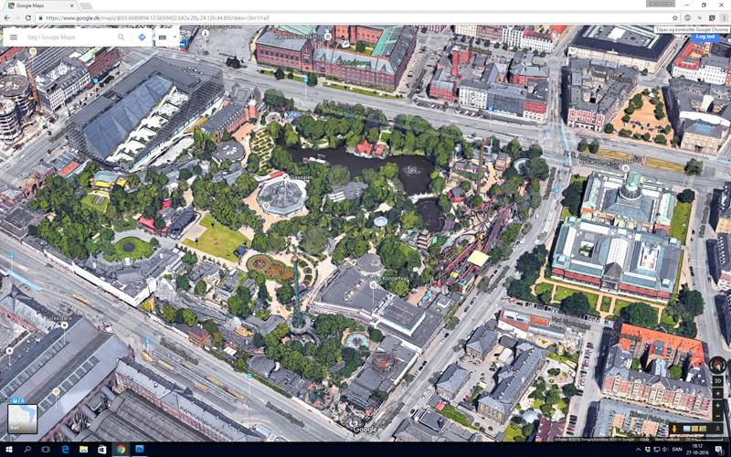 Google Maps med Tivoli i skråprojektion - blot et andet eksempel